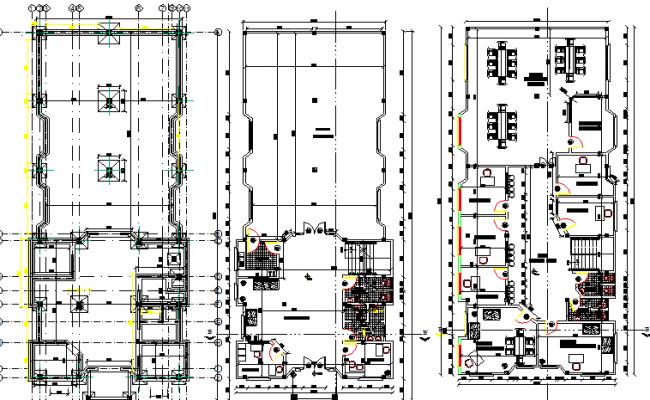 Ground & first floor plan layout of school, sanitary installation details dwg file