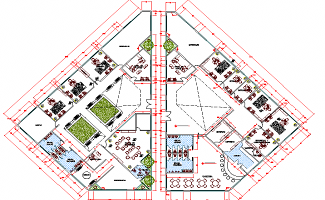 Ground and first floor plan layout of two flooring office dwg file