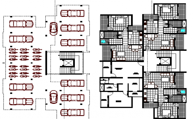 Ground and first floor plan of residential housing building dwg file