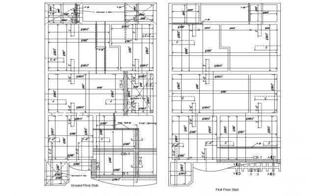 Ground and first floor slabs and reinforcement structure details dwg file