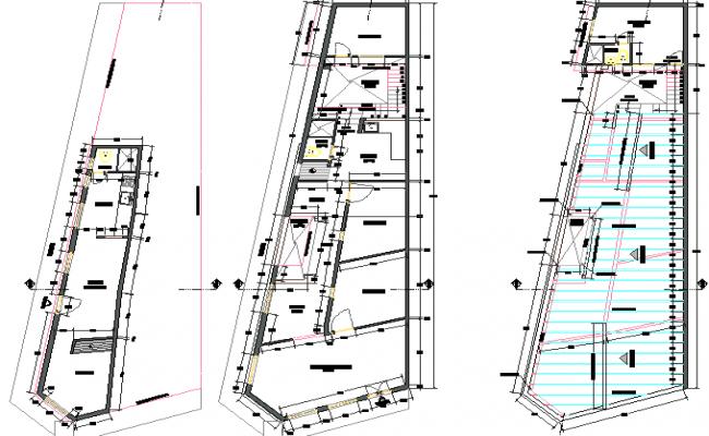 Ground floor, first floor and top floor layout plan