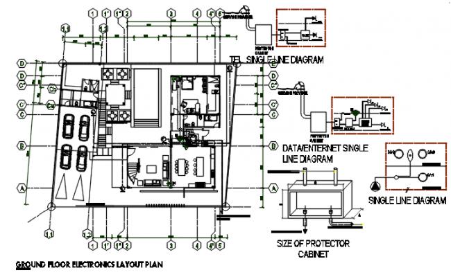 Ground floor Electric plan detail dwg file