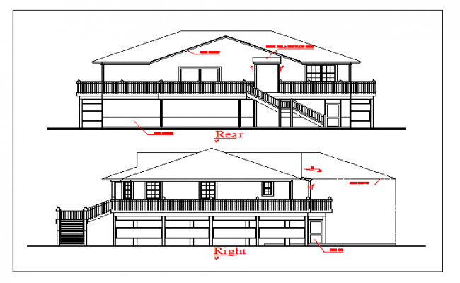 Ground And First Floor Elevation : Ground floor and first elevation design drawing of house