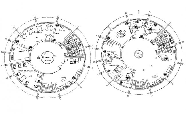 Ground floor and first-floor plan detail dwg file