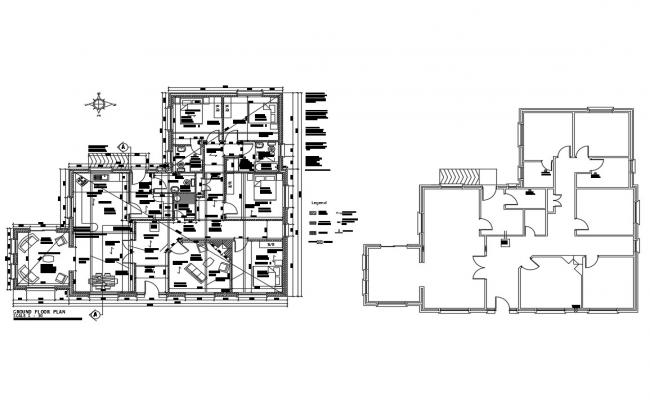 Ground floor and framing plan details of one family house cad drawing details dwg file