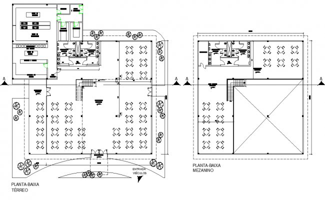 Ground floor and terrace plan Restaurant plan detail dwg file