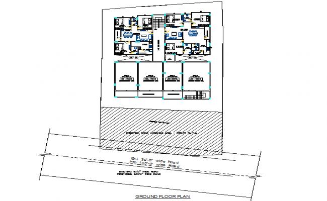 Ground floor apartment plan detail dwg file