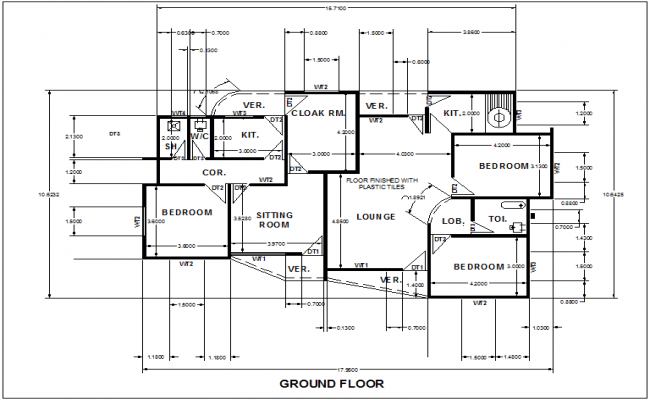 Ground floor design of house with dimension dwg file