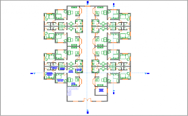 Ground floor design of plan for apartment dwg file