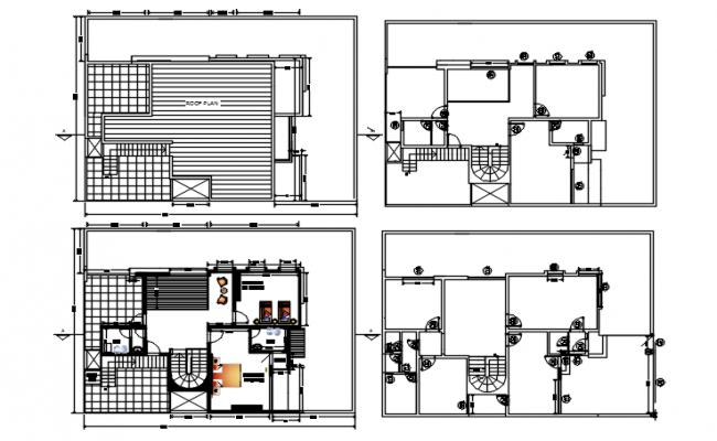 Ground floor design of the house with detail dimension in dwg file