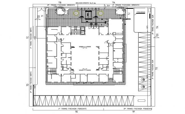 Ground floor framing plan details of office building dwg file
