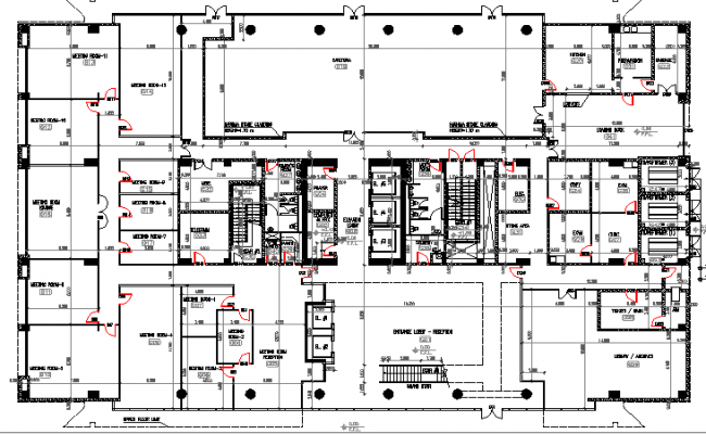 Ground floor layout plan details of multi-flooring college dwg file