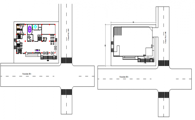 Ground floor layout plan details of office building dwg file