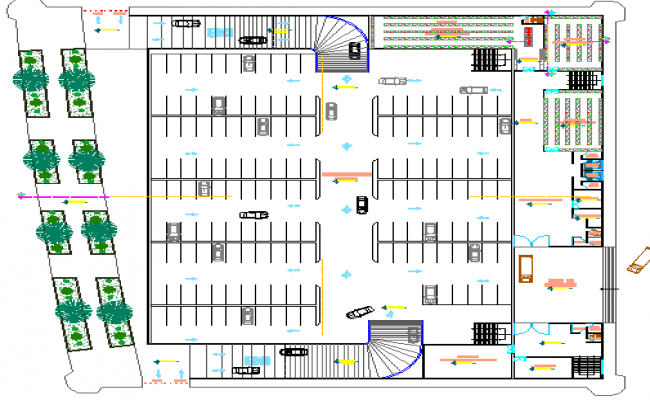 Ground floor layout plan with landscaping of super market dwg file