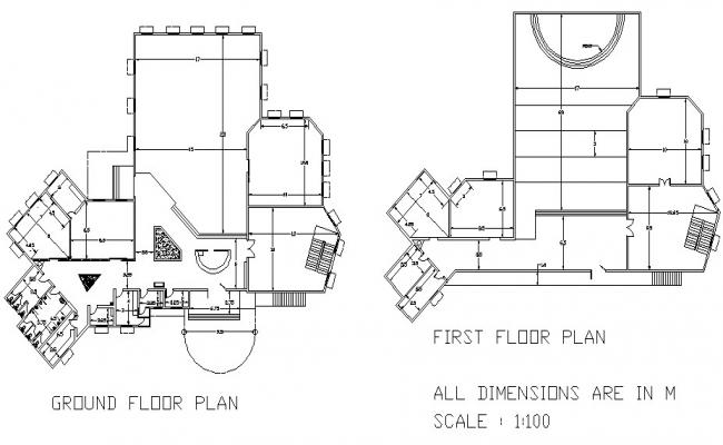 Ground floor plan and first floor library plan detail dwg file