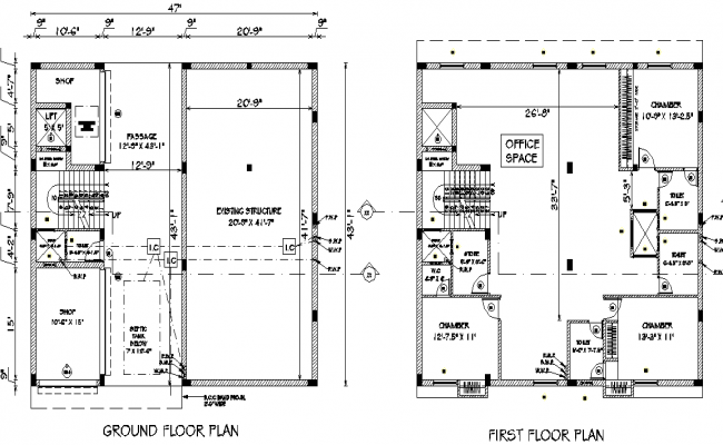 Ground floor plan and first floor plan detail dwg file