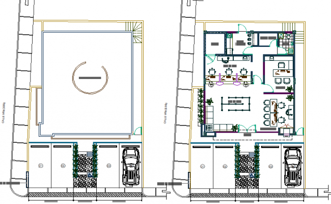 Ground floor plan details of bank branch office dwg file