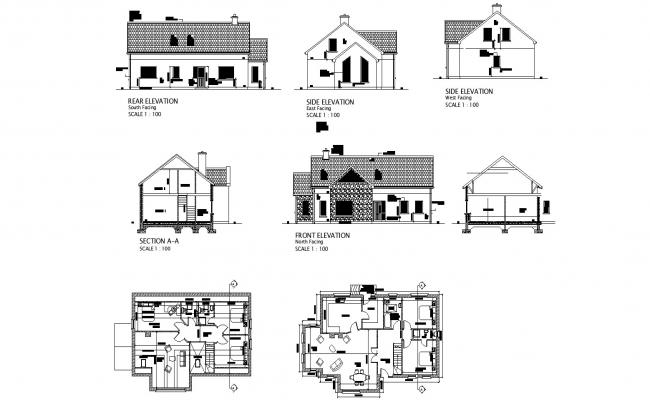 Ground floor plan of 2 storey house with section and