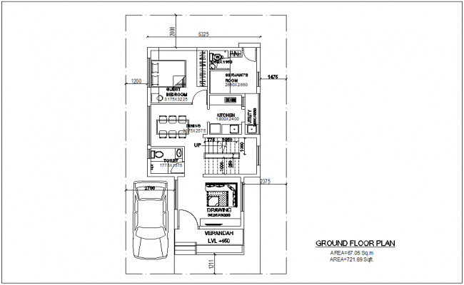 Ground floor plan of bungalows with architecture view dwg file
