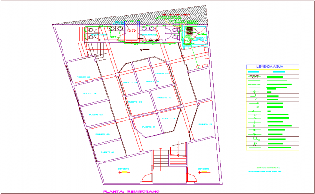 Ground floor plan of commercial building cold water line view with its legend dwg file