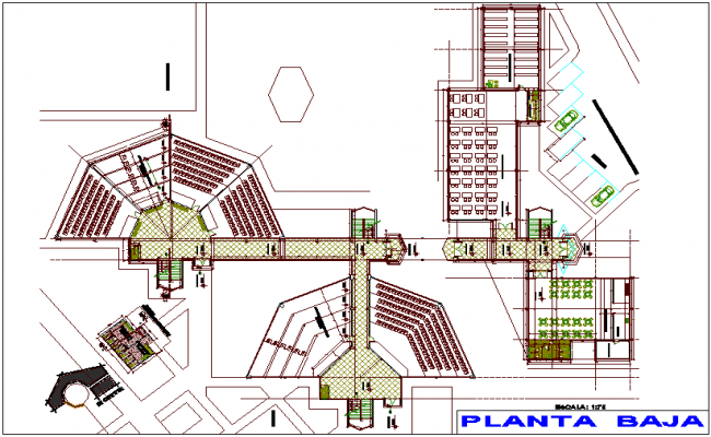 Ground floor plan of education center dwg file