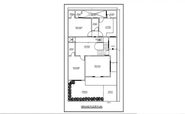 Ground floor plan of home 30' x 50' with furniture detail in AutoCAD