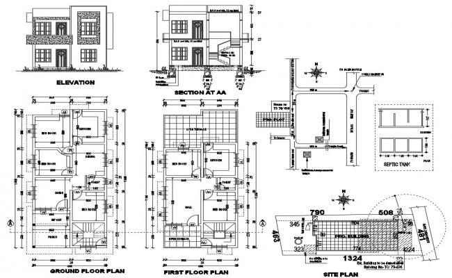 Ground floor plan of house with a site plan in AutoCAD