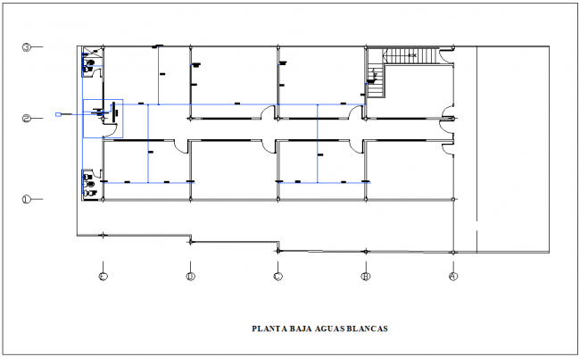 floor plan of housing with single water line view dwg file