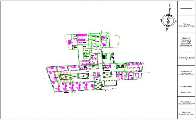 Ground floor plan of medical center dwg file