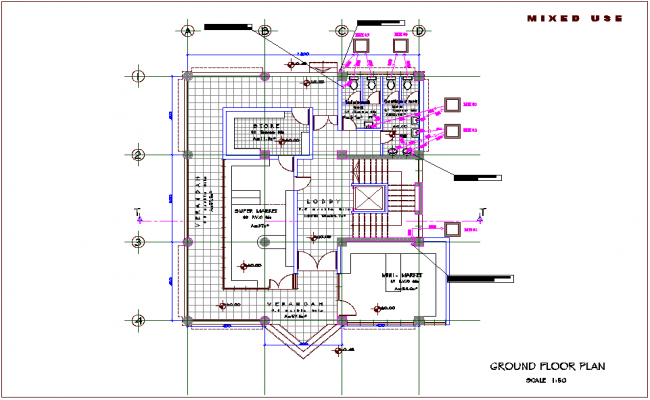Ground floor plan of mixed use high rise building dwg file