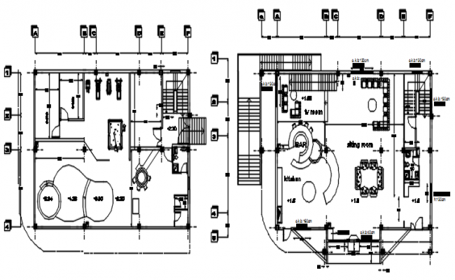 Ground floor plan of the bungalow with detail dimension in dwg file