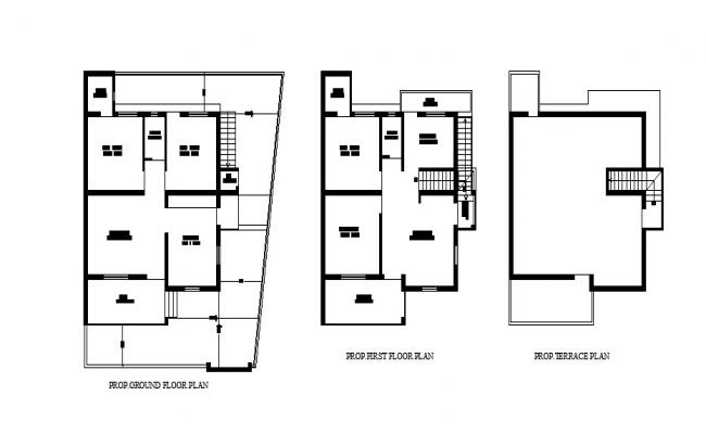 Ground floor plan of the house with detail dimension in dwg file