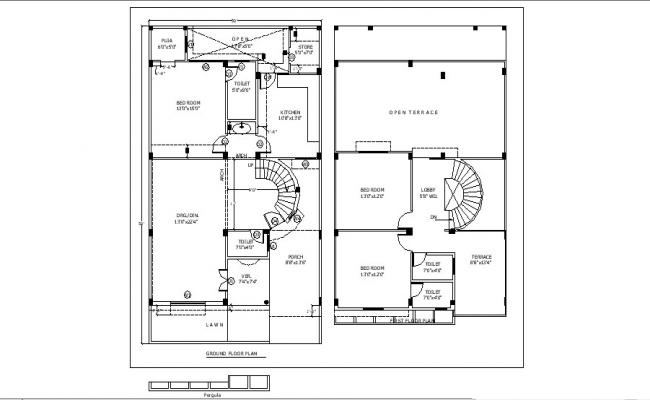 Ground floor plan of the residential apartment with detail dimension in dwg file