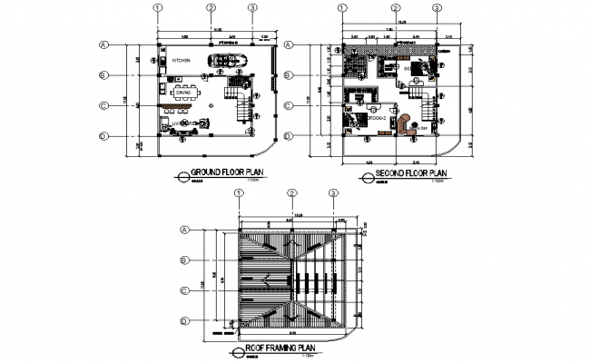 Ground floor plan to roof framing house plan detail dwg file