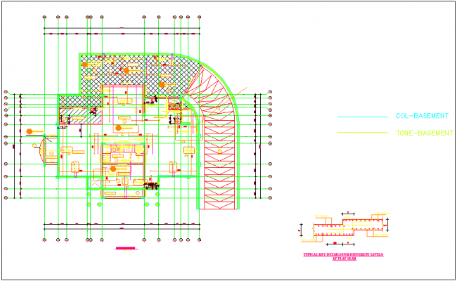 Ground floor plan with different level slab view dwg file