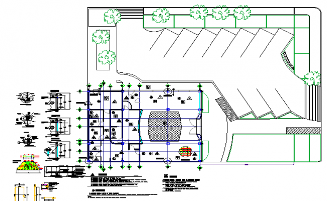 Ground floor plan with landscaping of bank dwg file