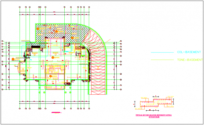 Ground floor plan with slab construction dwg file