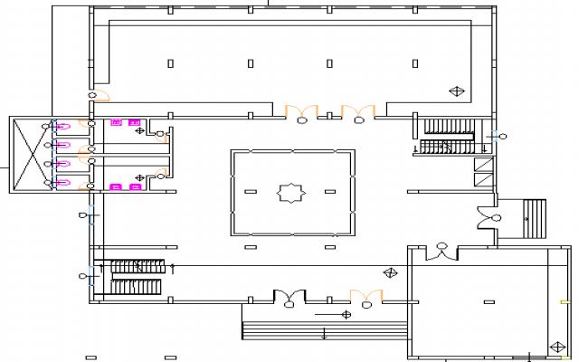 Ground floor print of single family house dwg file