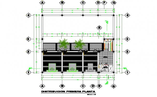 Ground floor single family house plan detail dwg file