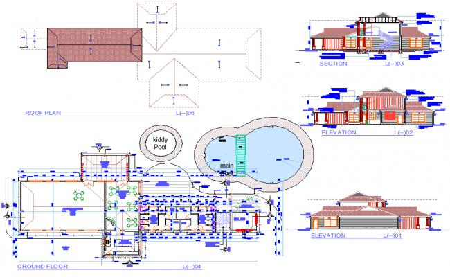 Ground floor to Roof plan Mini market layout file