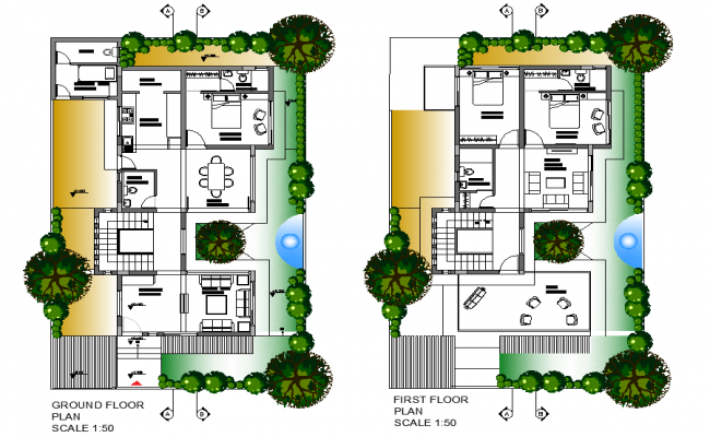 Ground floor to first floor house plan detail dwg file
