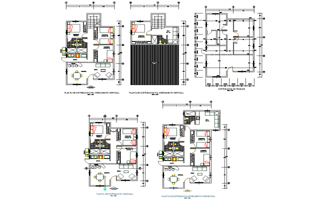 Ground floor to roof house plan autocad file