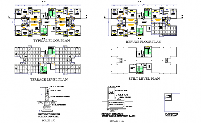 Ground floor to roof municipal housing plan layout file