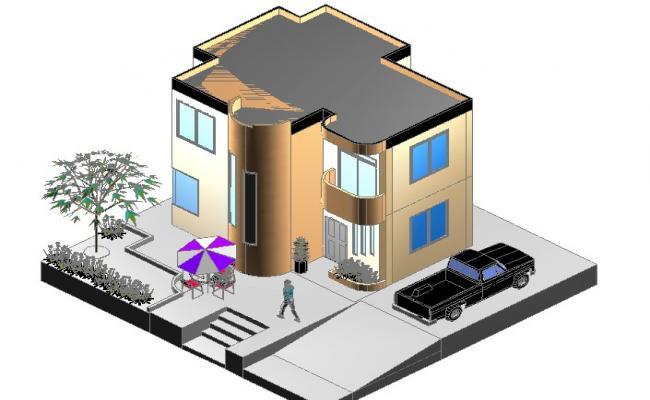 Ground floor to terrace floor 3 D house plan detail dwg file