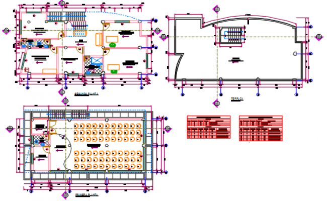 Ground floor to terrace floor working plan detail dwg file