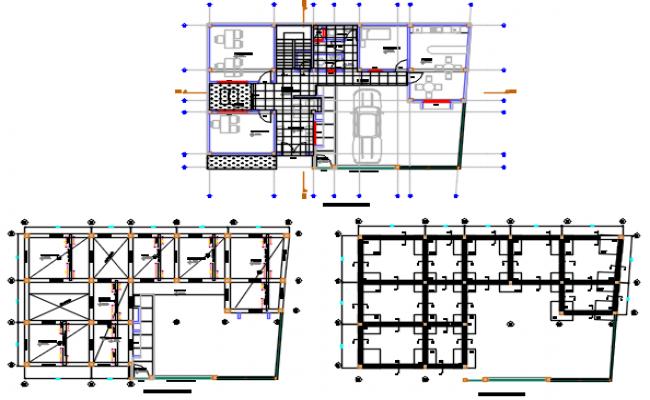 Ground floor to terrace floor working plan detail dwg file