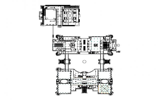 Ground floor with furniture layout plan details of ministry of head quarters dwg file