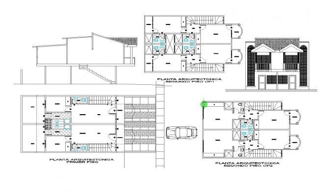 Grouped houses plan detail dwg file.