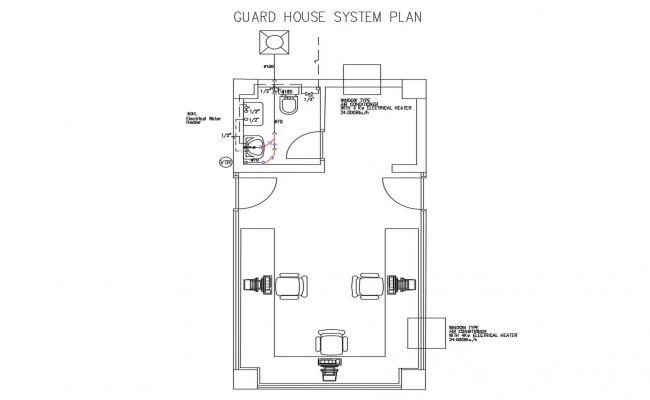 Guard house system plan with sanitary installation details dwg file