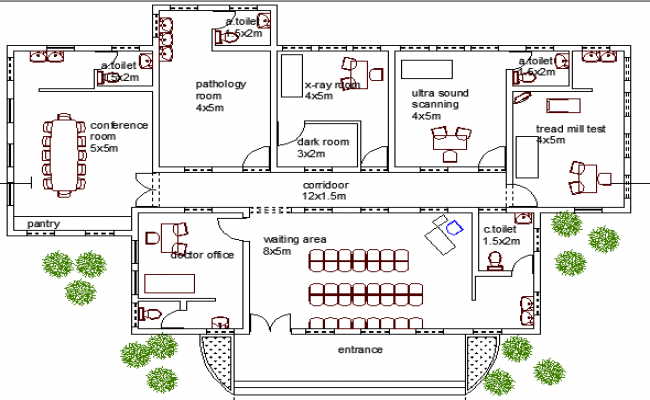 Guest house for hospital staff architecture layout plan dwg file